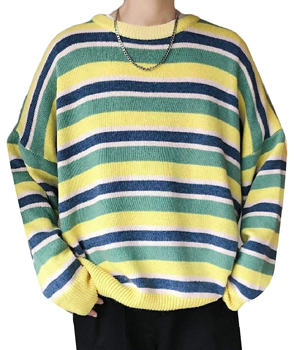ouxiuli Mens Relaxed Fit Stripe Winter Round Neck Stylish Knitted Pullover Sweaters