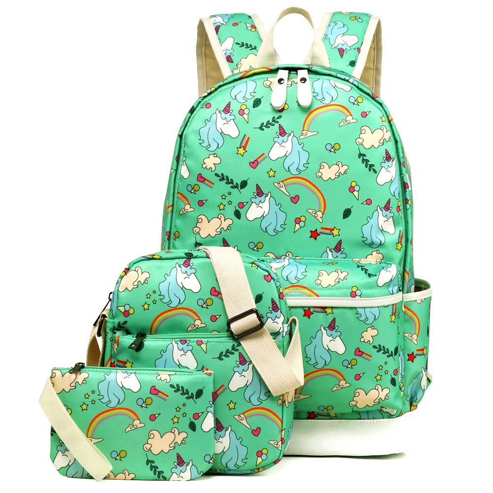 Kemy's Inicorn School Backpack for Girls Set 3 in 1 Cute Printed Bookbag 14inch Laptop School Bag for Girls Water Resistant Gift, Teal Green