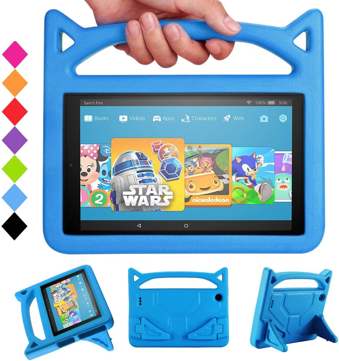 """All-New Fire HD 10 2019 Tablet Case -Riaour Shock Proof Light Weight Convertible Handle Stand Kids Friendly Cover for Fire HD 10.1"""" Tablet(Compatible with 2019&2017 Released)(New Blue)"""