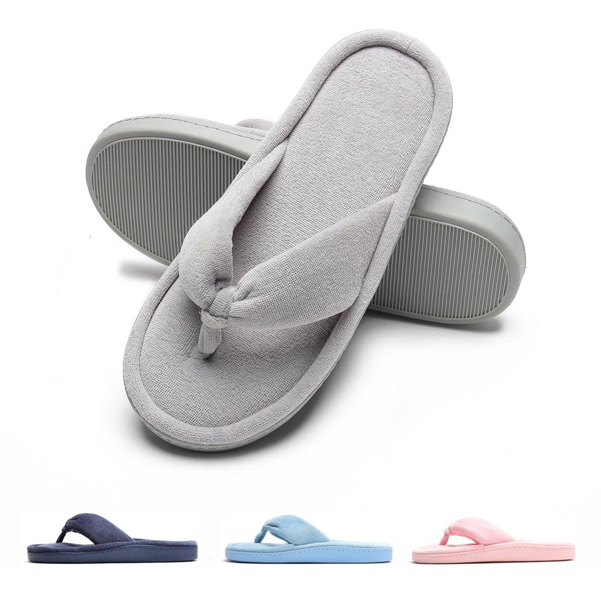 Women Indoor Slippers Velvet Soft Open-Toe Slipper Gray L