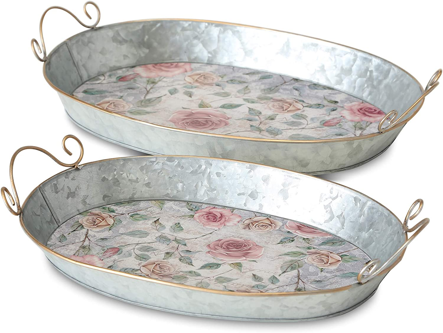 WHW Whole House Worlds 2 Piece Galvanized Oval Trays, Vintage English Rose Garden Pattern, Rolled Rims, Gold Handles, Deep-Dish, 16.5 and 15.25 Inches, Botanical Themed