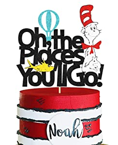 KAPOKKU Oh The Places You'll Go Inspired Cake Topper Glitter Dr Seuss Birthday Party Decor