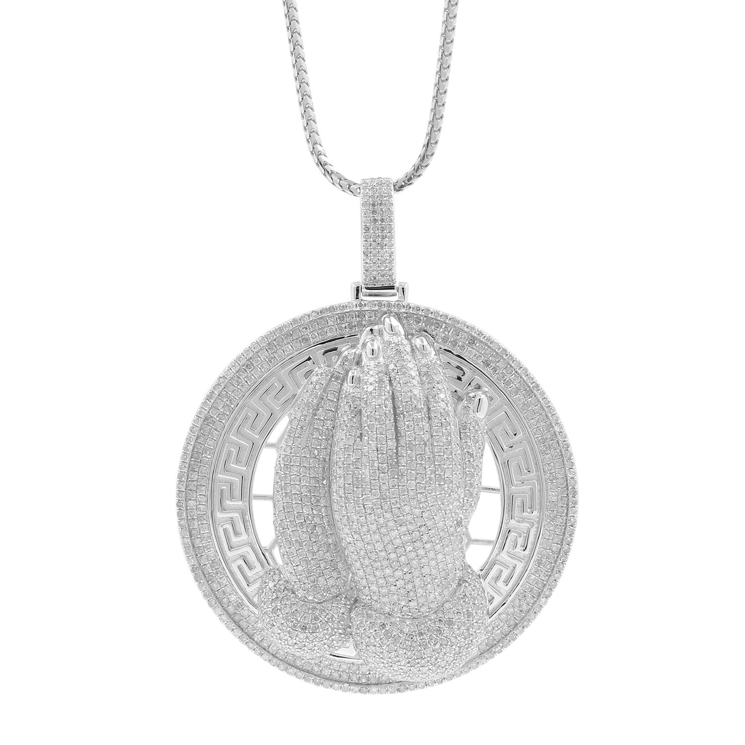 6.04ct Diamond Praying Hands Medallion Mens Hip Hop Pendant Necklace in 925 Silver