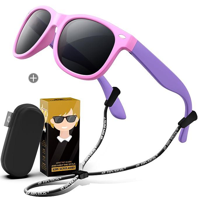 RIVBOS - Gafas de sol polarizadas Niños, (Rbk004-2 Pink With Case), Medium: Amazon.es: Ropa y accesorios