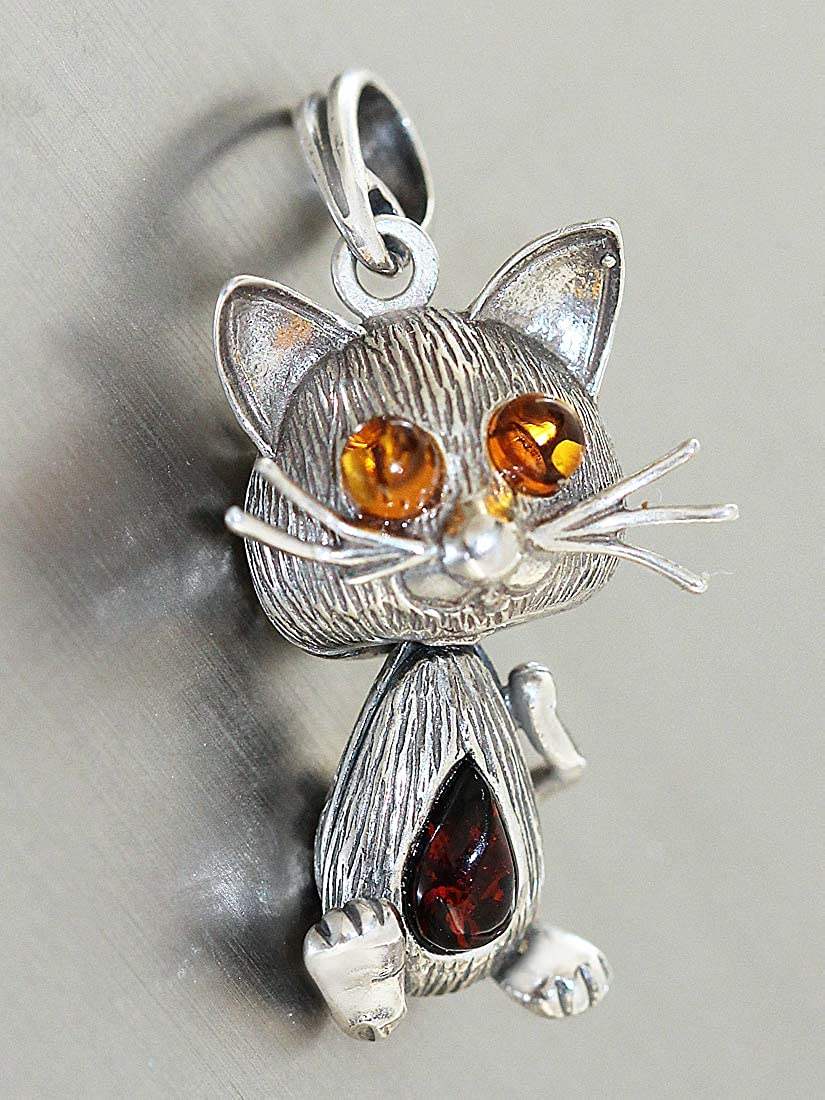 Zauberhafte Kette Silber 925 mit Anhänger kleine Katze Silberkette Silberkatze