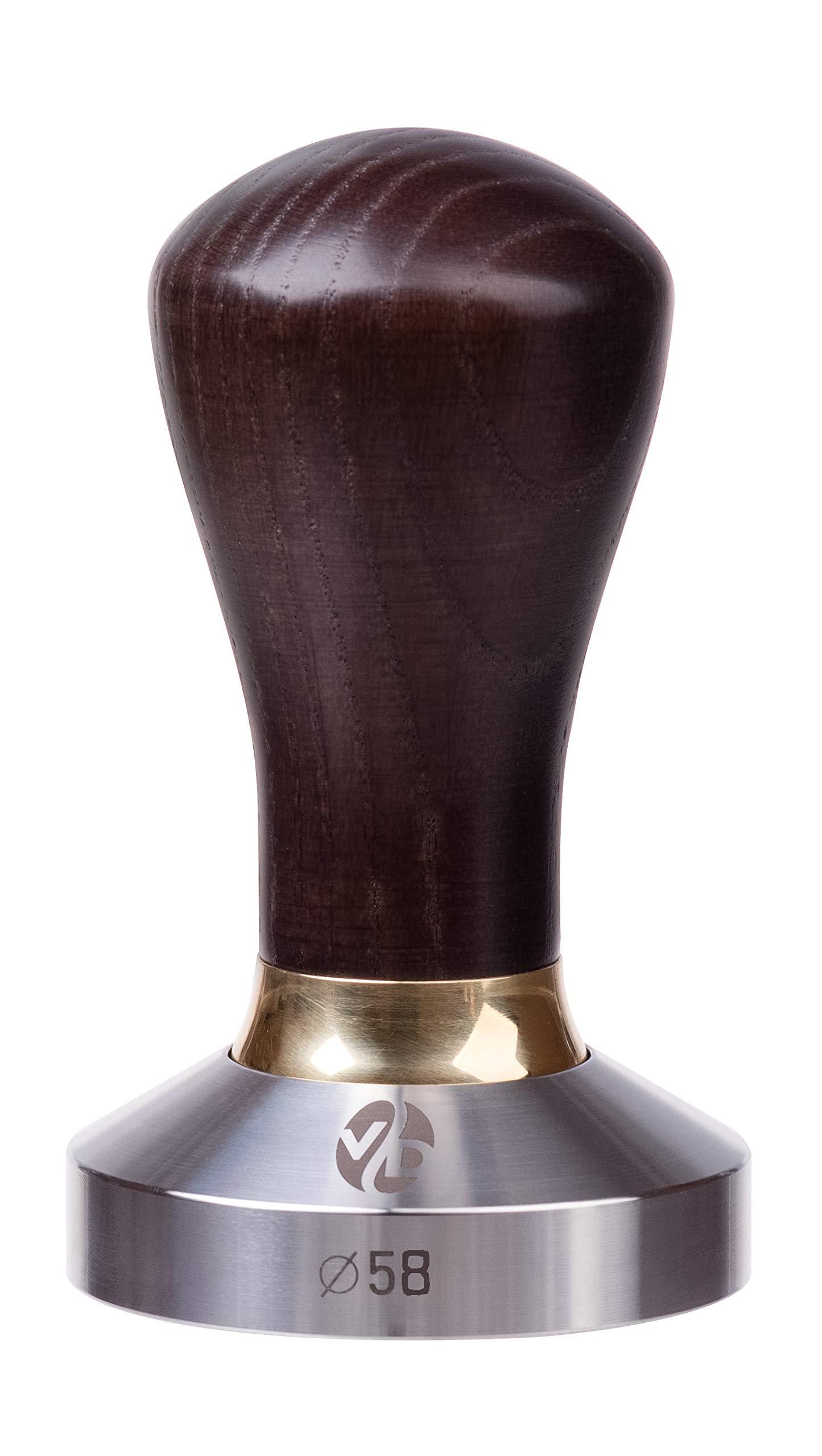 Tamper - Espresso Tamper - 58mm Tamper - Coffee Tamper Premium Series - Coffee Press Tool - Tamper Espresso - Stainless Steel Espresso Tamper - Handle Solid Wood - Pressure Base Tampers (venge, 58mm)