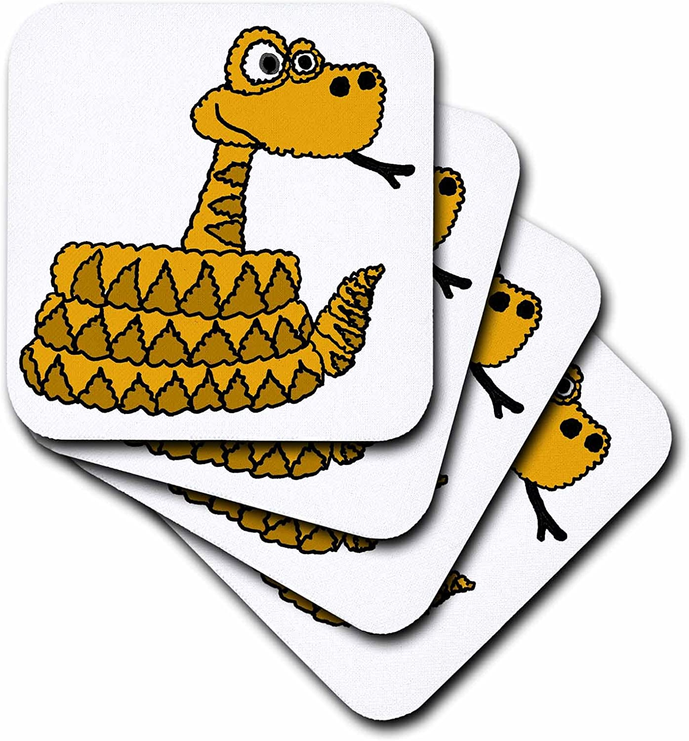 Soft Coasters 3dRose Cute and Funny Rattlesnake Cartoon set of 8 cst/_200173/_2