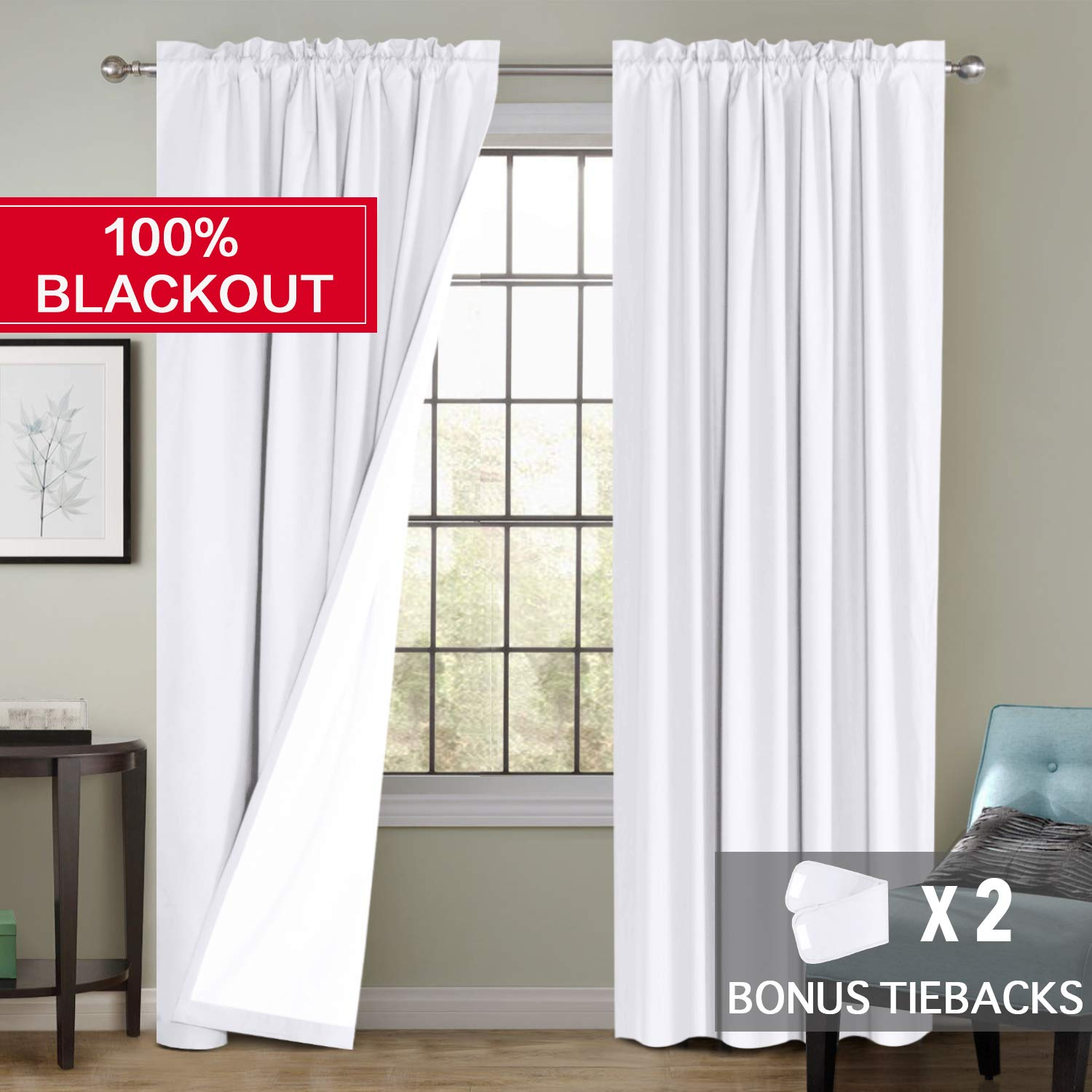 Flamingo P 100% Blackout Curtains Waterproof Fabric Curtains with White Thermal Insulated Liner, Rod Pocket Cotton Finishing Curtains for Bedroom 2 Bonus Tie-Backs, (2 Panels W52 x L96 inches, White)