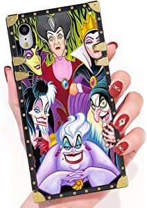 DISNEY COLLECTION iPhone Xr Case Cartoon Characters Disney Villains Ladies Square Phone Case Cover Soft TPU 360 Degree Luxury Shockproof Protective Case Compatible for iPhone Xr 6.1 Inch