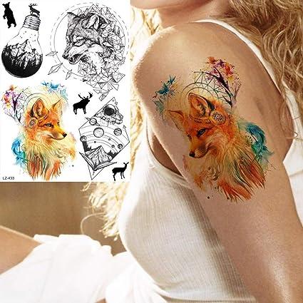 MRKAL Tatuaje Falso Tatuaje Acuarela Sexy Fox Mujeres Brazo ...