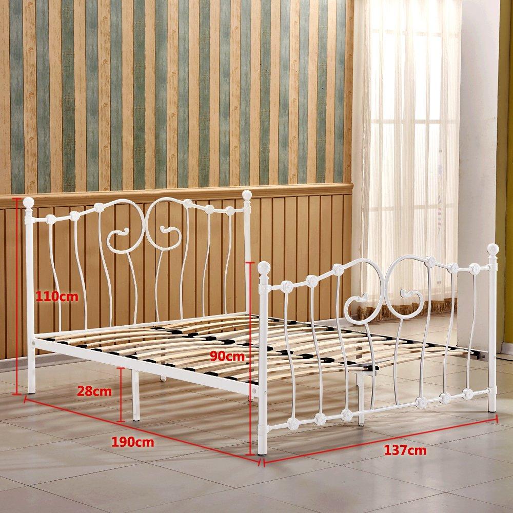 Metal doble cama 4 ft6 cama marco, willstone hierro base para somier ...