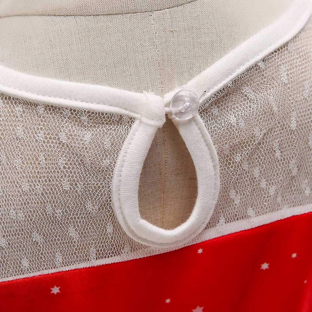 Jchen TM Little Girl Christmas Dress Toddler Kids Girls Short Sleeve Santa Elk Printed Princess Dress for 1-7 Y