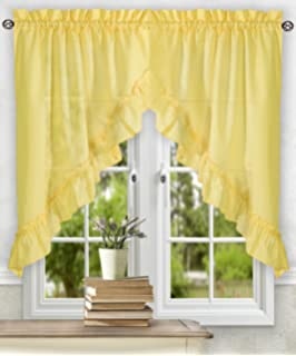 Ellis Curtain Stacey 60 By 38 Inch Ruffled Swag Curtain (Yellow)
