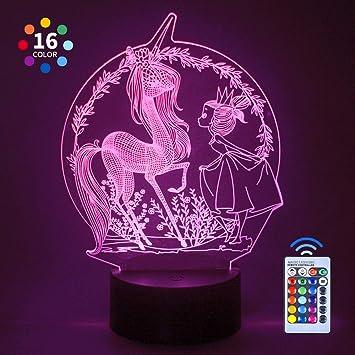 CITOY Luz Nocturna LED Regulable en 3D con Control Remoto para Niños - Prefect Gifts