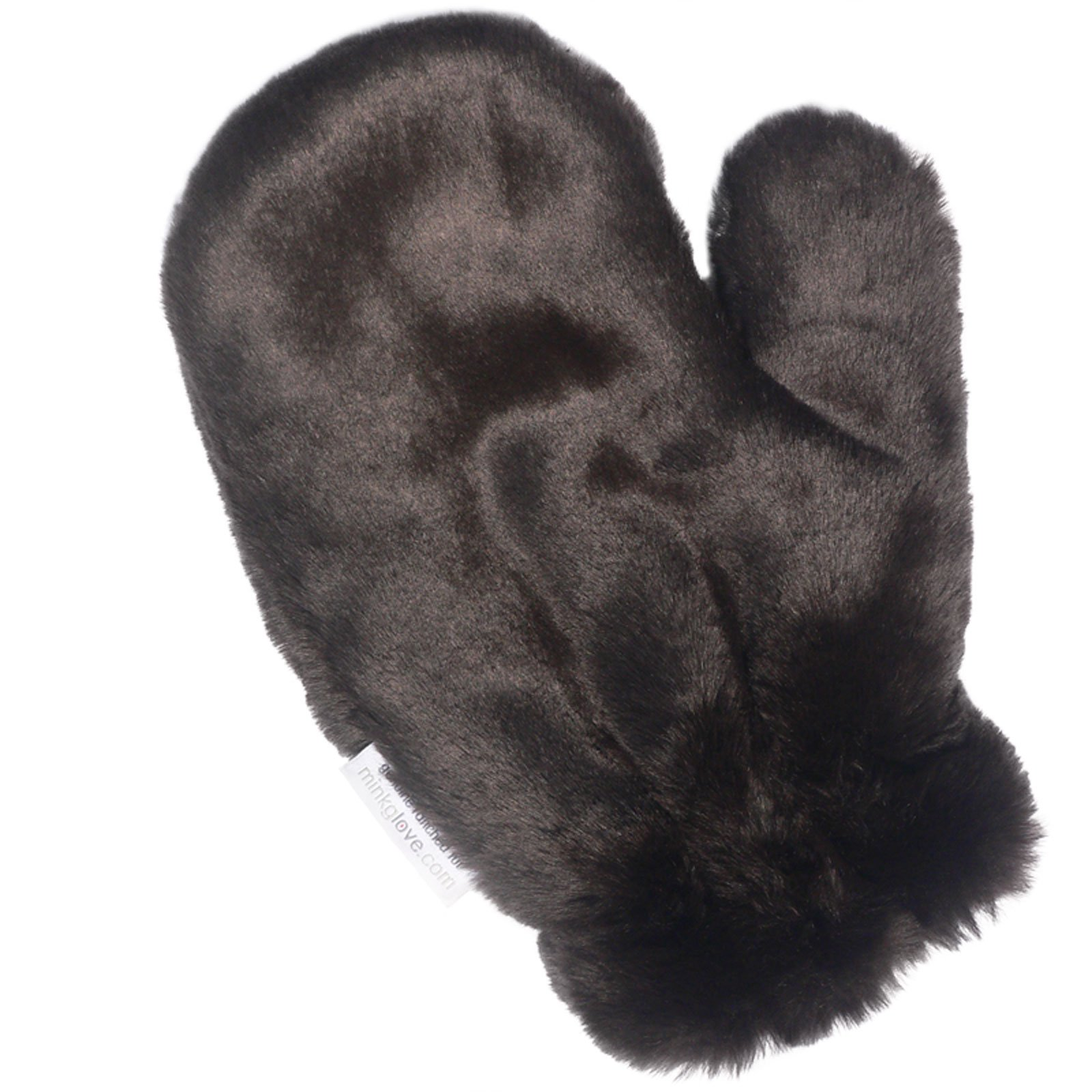 MinkgLove Fake Rex Rabbit Massage Glove, Smooth Velvety Sheared Feel, Brown, Unisex, Hand Tailored, One Size - Double Sided Faux Fake Fur