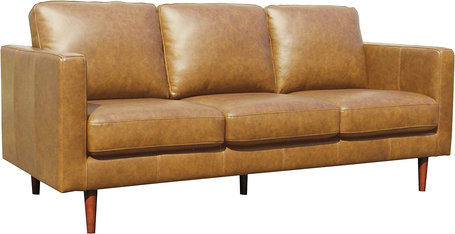 Amazon Brand – Rivet Revolve Modern Leather Sofa Couch, 80