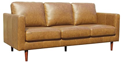 Rivet Revolve Modern Leather Sofa with Tapered Legs, 79.9