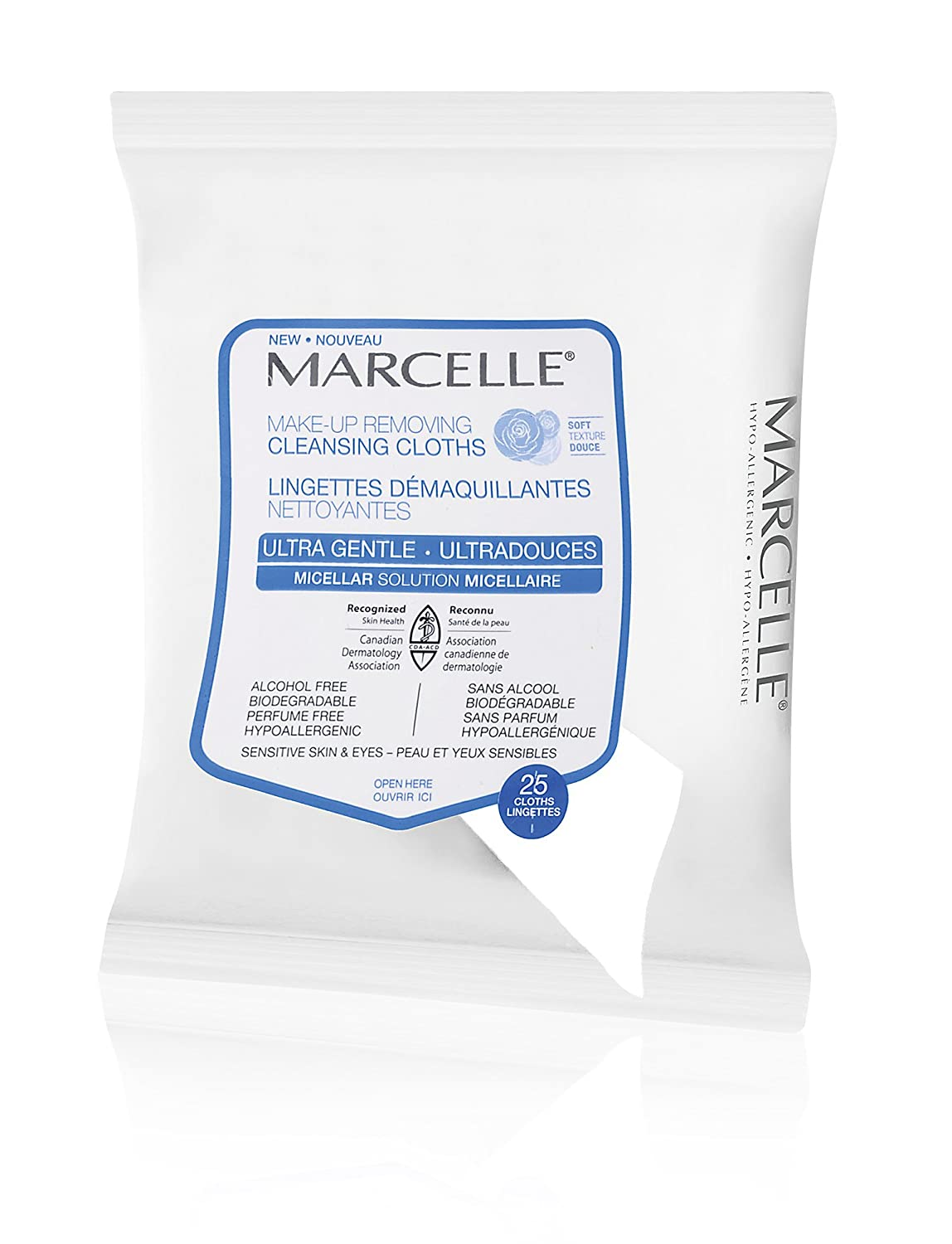 Marcelle Ultra-Gentle Makeup-Removing Cleansing Cloths, Hypoallergenic and Fragrance-Free, 25 cloths Marcelle group - Beauty 174015