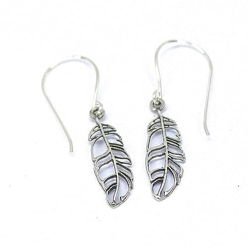 Minimalist Jewelry Stud Earrings Boho 925 Silver Feather Earrings Earring Feather Silver Sterling Silver Earrings Studs Minimalist