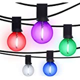 G40 Outdoor String Bulb Lights with 25 Colorful Clear Globe Bulbs- 49Ft Festoon Outdoor Patio Lights for Christmas…
