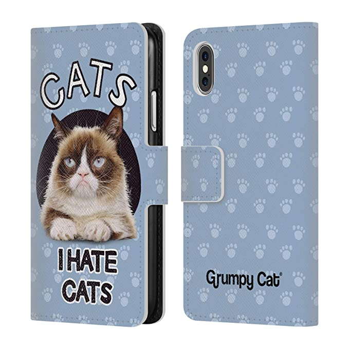 Official Grumpy Cat Hate Quotes Leather Book Wallet Case Cover for iPhone  X/iPhone Xs