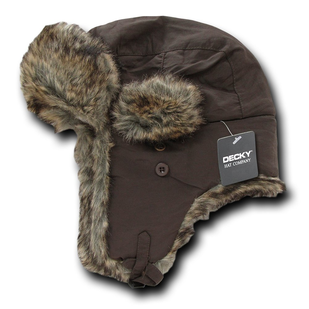 11281dac05aa4 Amazon.com  DECKY Aviator Faux Fur Lined Trooper Hat with Adjustable  Earflaps  Clothing
