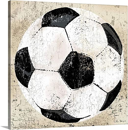 Peter Horjusプレミアムシックラップキャンバス壁アート印刷題名ヴィンテージサッカーボール 30