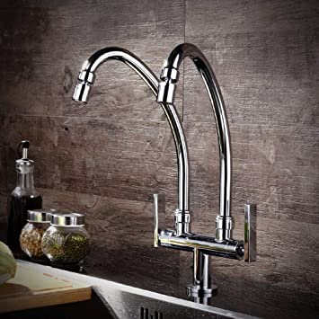 Axwt Kitchen Sink Taps Lever Basin Taps Kitchen Tap Bathroom Sink Mixer Tap Chrome Plated Copper Body Double Tube Double Head Single Cold One In Two Out Faucet Amazon Com