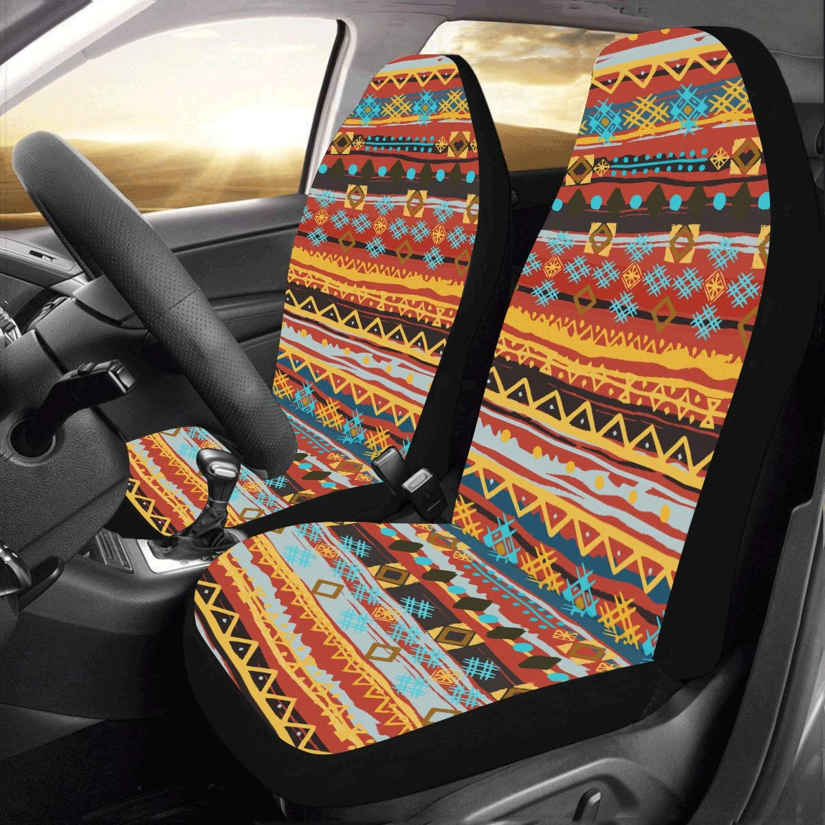 FOR U DESIGNS Car Seat Covers African Ethnic Style Design Car Seat Protector Dectoration Non-Slip Mat Unique Flat Cloth Car Seat Cover 2pc