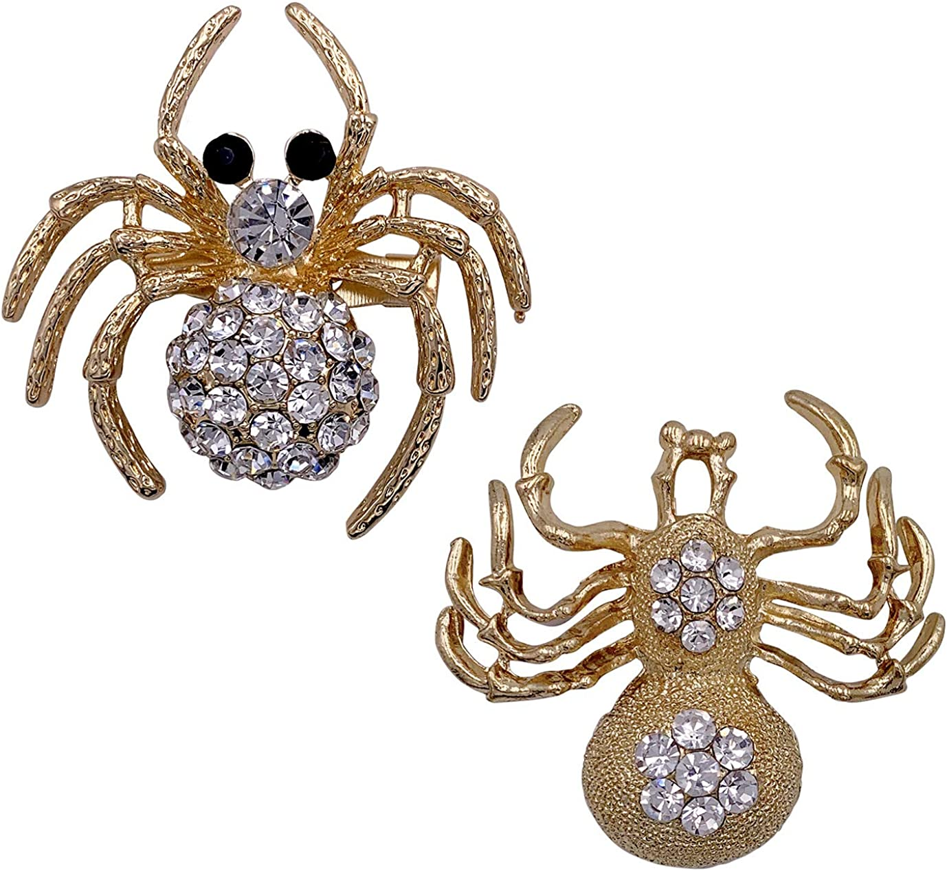 SELOVO Spider Clear White Crystal Brooch Pin 2 Pcs Jewelry Set Gold Tone