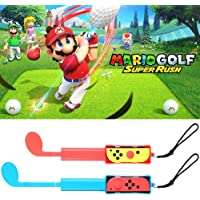 Switch Golf Club Compatible with Nintendo Switch Mario Golf: Super Rush, Golf Grips with Strap for Joy-Con, 2 Pack Set…
