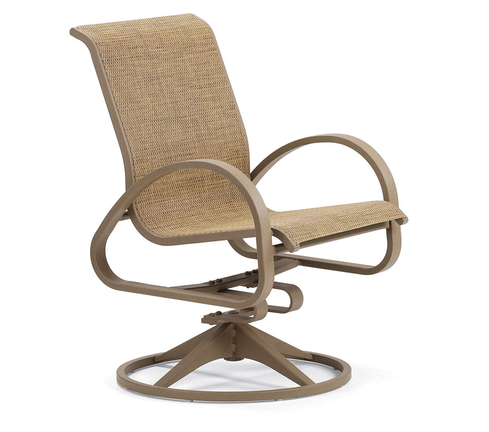 Wood & Style Patio Outdoor Garden Premium Sling Collection Aluminum Swivel Rocker, Bark, Textured Graphite Finish
