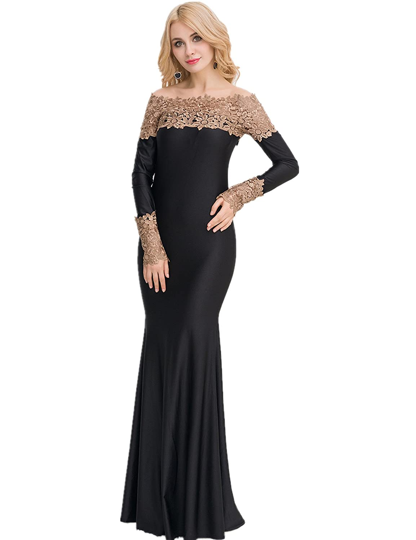 295fc1b0c138 ohyeahlady Women's Long Sleeve Dress Boat Neck Lace Evening Gown Prom Dress:  Amazon.co.uk: Clothing
