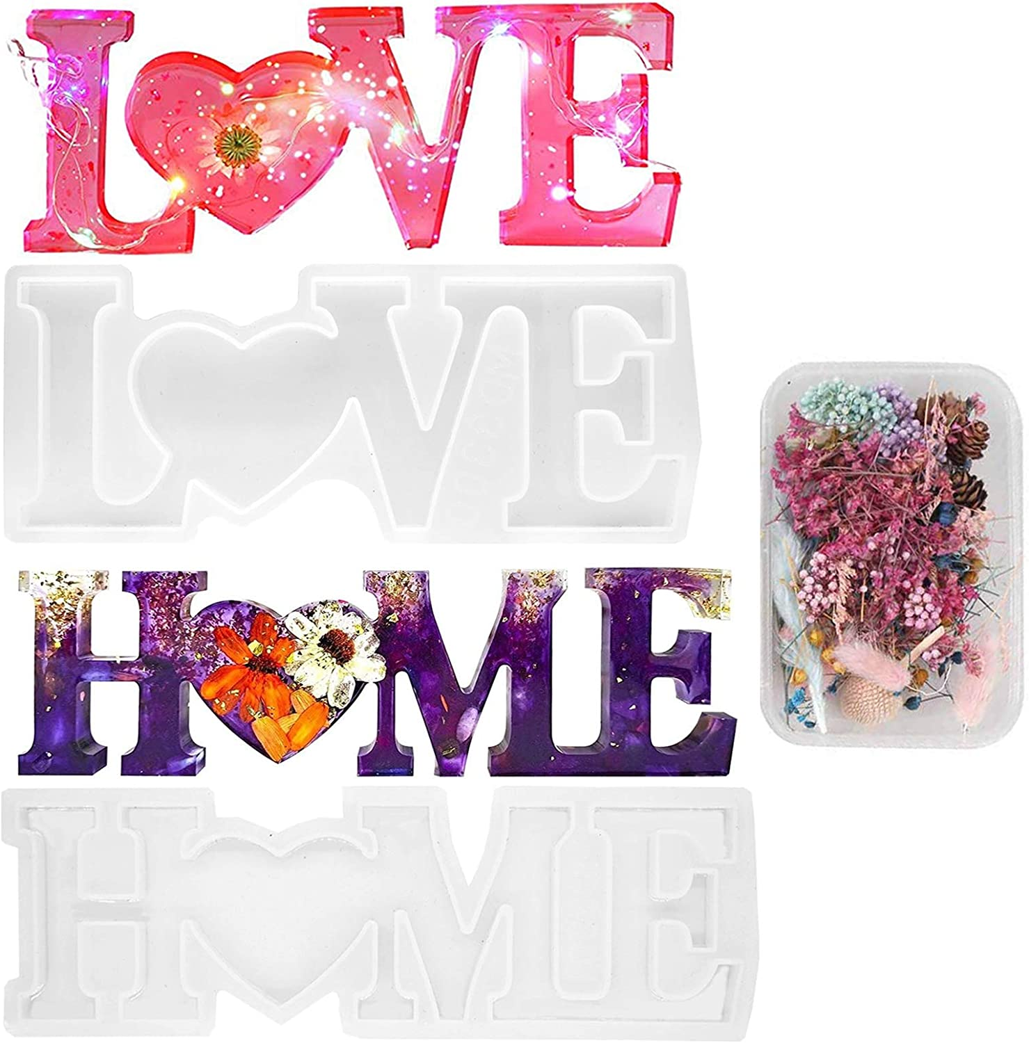 2Pcs Love Home Sign Resin Word Casting Molds Silicone Epoxy with Dried Flower for DIY Resin Project Table Home Decoration Ideal Birthday Valentine's Gift