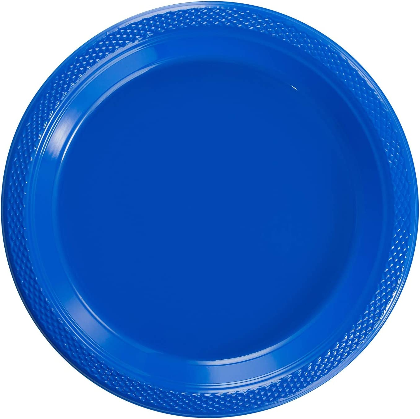 Exquisite 7 Inch. Dark Blue Plastic Dessert/Salad Plates - Solid Color Disposable Plates - 50 Count