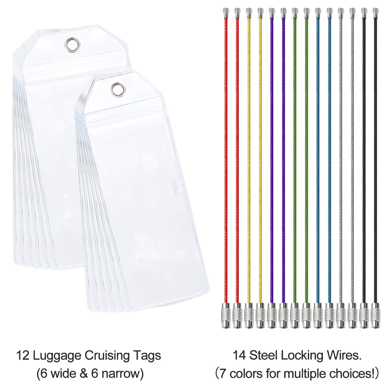 Cruise Tags 12 Pack Both Sizes (Wide and Narrow) Luggage Etag Holders Zip Seal Steel Loops by Jeatonge (Image #4)