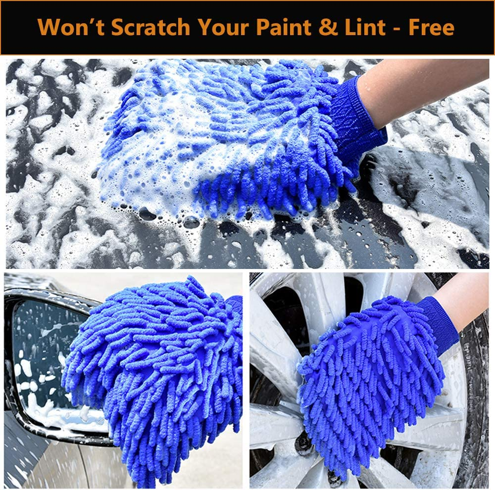 2 Pack Wash Mitt Large Size Chenille Microfiber Car Wash Gloves Scratch Free Use Wet or Dry Blue and Green WALTSOM Car Wash Mitt Double Sided Lint Free