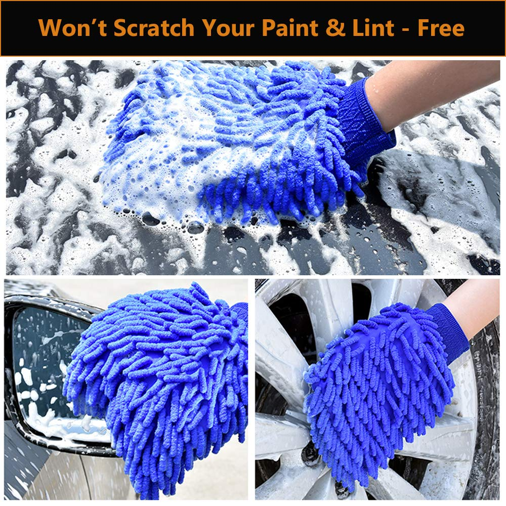 WALTSOM Car Wash Mitt, 2 Pack (Waterproof) Wash Mitt Large Size Chenille Microfiber Car Wash Gloves, Lint Free, Scratch Free, Double Sided, Use Wet or Dry, Blue and Green