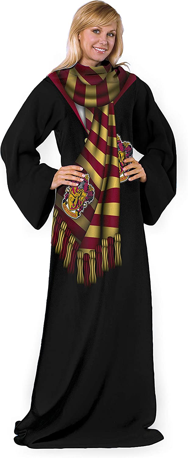 """Harry Potter Winter Potter Adult Fleece Comfy Throw, 48"""" x 71"""" Blanket with Sleeves, 48 x 71 Inches"""
