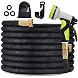 """TOCZIM 100ft New Expandable Garden Hose - Superior Strength 3750D, 4-Layers Latex with 3/4"""" Solid Brass Connectors, 9…"""