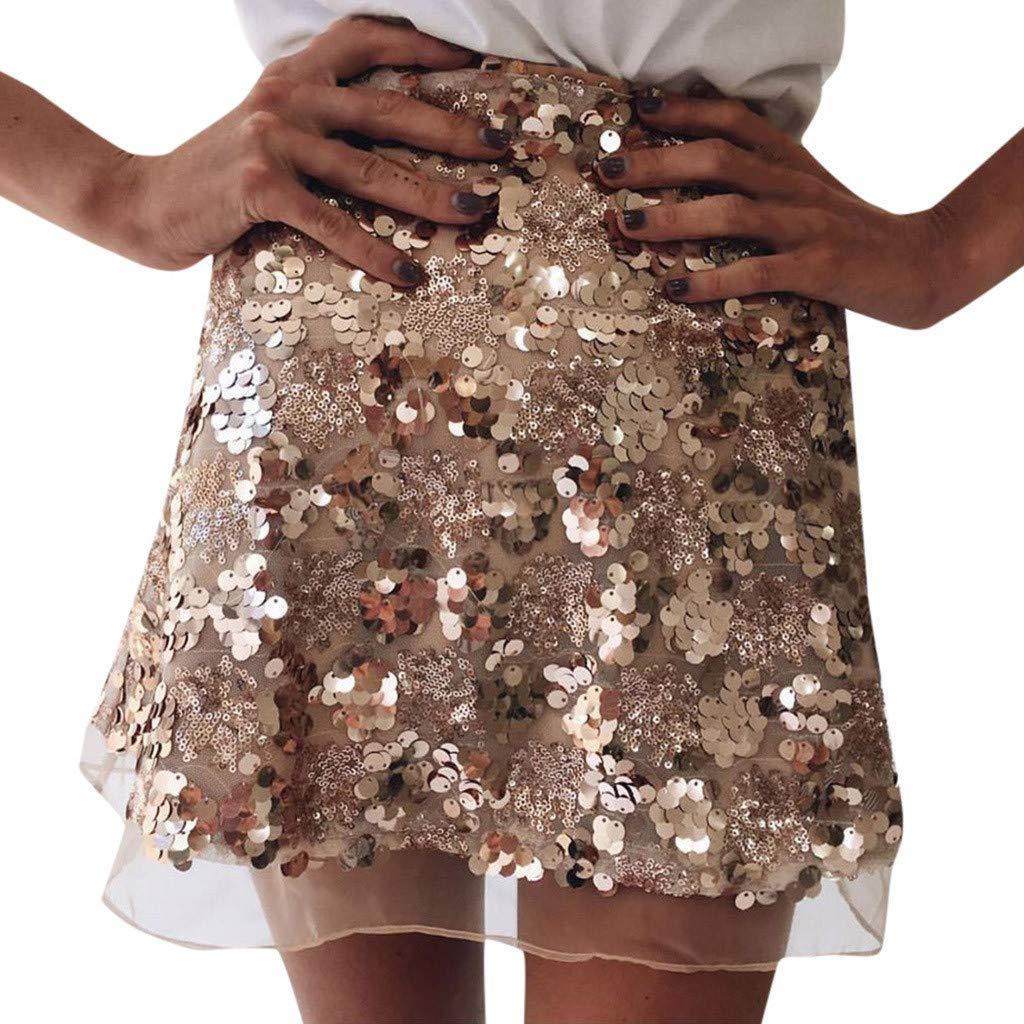 Mysky Popular Women Sexy Sequins High Waist Evening Party Bodycon Clubwear Mini Skirt Gold