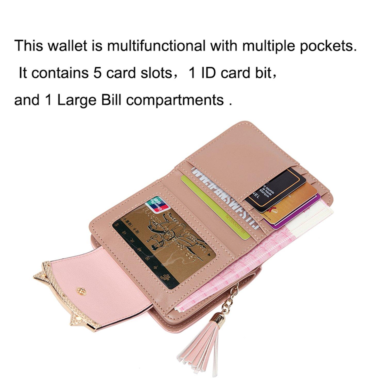 Women Cute Cat Mini Wallets Design Coin Purse Leather Tassel Wallet AM02/_Black