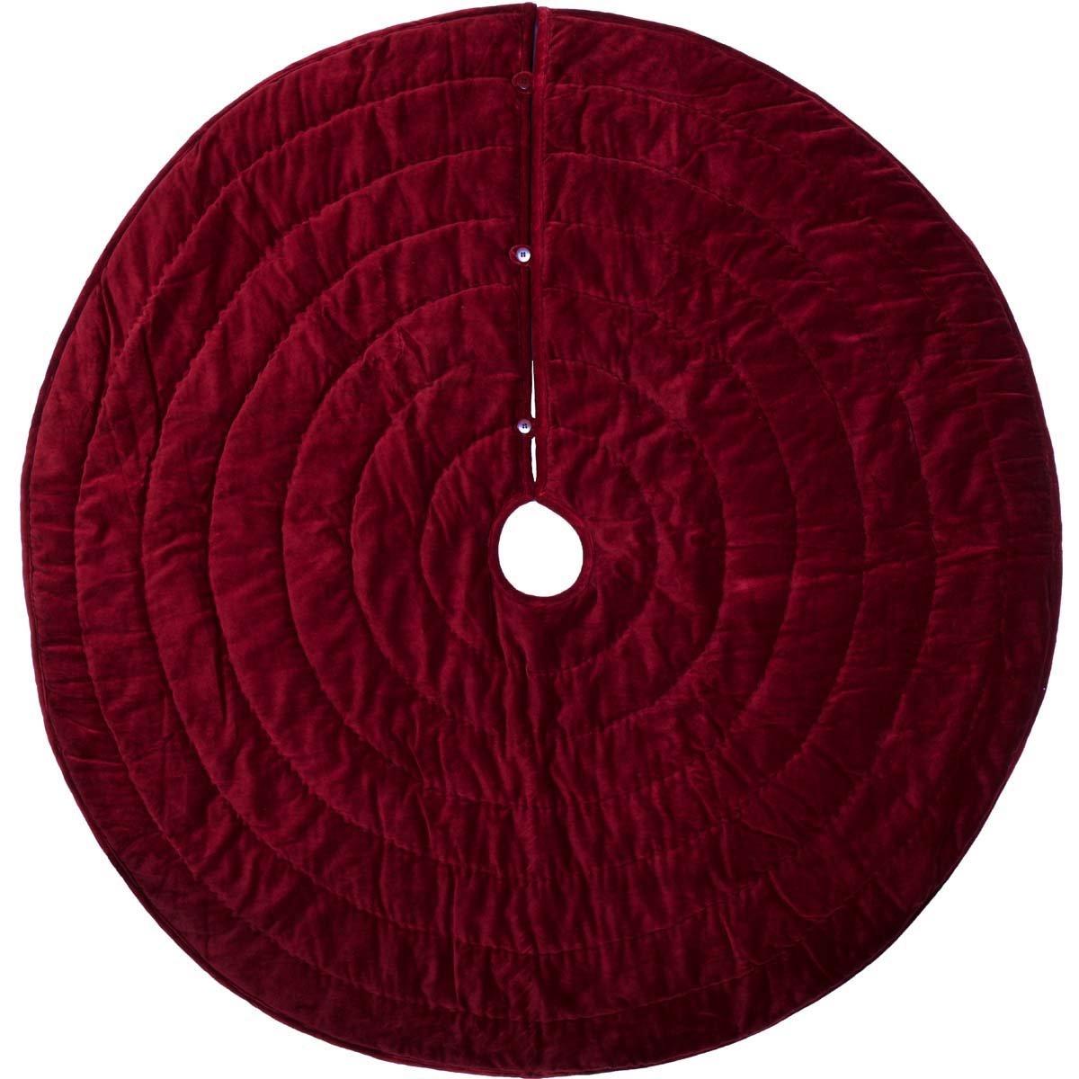 VHC Brands Christmas Decor-Velvet Holiday Tree Skirt, Red