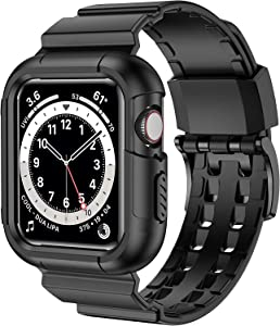 iiteeology Compatible with Apple Watch Band 40mm 38mm Case, Rugged Protective iWatch Case with Sport Bands for Apple Watch SE Series 6/5/4/3/2/1, Black