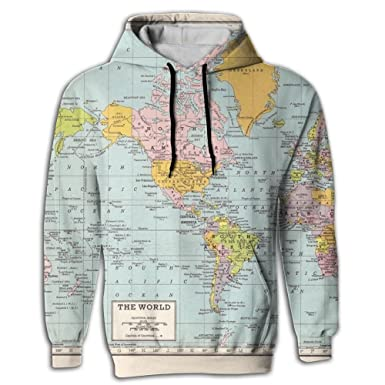 World Map Sweater.Amazon Com Wtfiwy Men S World Map Vintage Pullover Sweatshirt