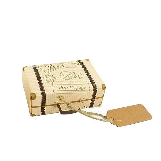 Faylapa 50 Sets maleta temática de viaje cajas de dulces Vintage bolsa de regalo de papel Kraft para fiesta temática de viaje boda nupcial cumpleaños