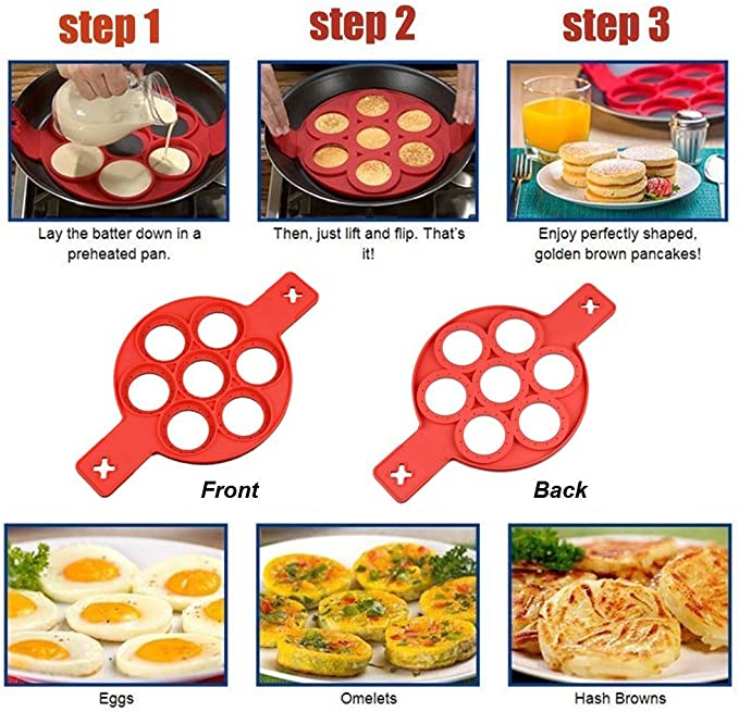 LAVALINK Pancake Moule Moule Silicone Cuisson Egg Cooker Pancake Clip Egg Bague Antiadh/ésives Ronde Silicone Egg Anneau