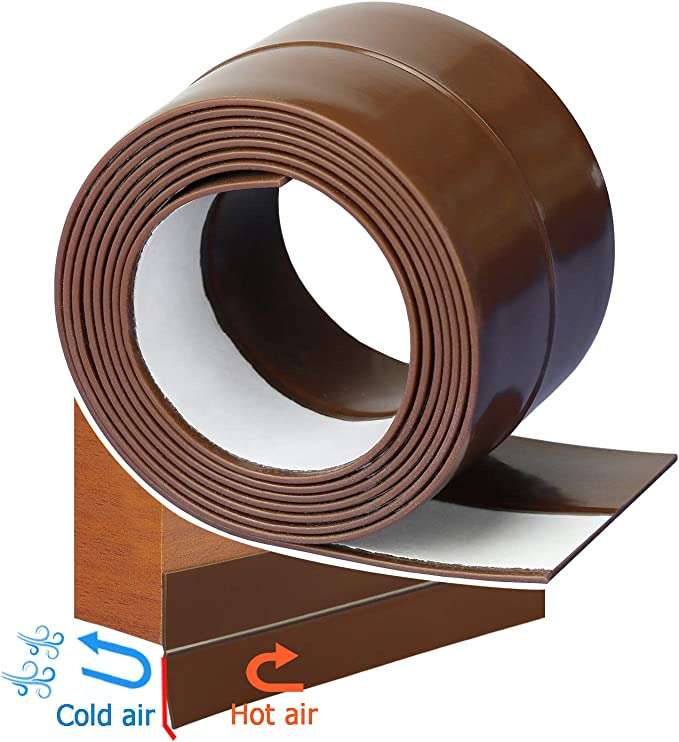Wolfpack 5190310 Burlete con cepillo PVC, 1 m color roble