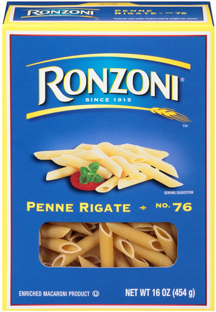 Ronzoni Penne Rigate, 16-Ounce (Pack of 12)