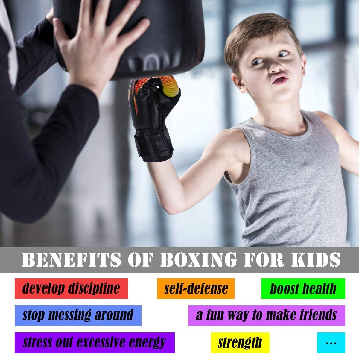 Muay Thai,Kickboxing Luniuqz Guantes de Boxeo para Ni/ños de 3-14 A/ños Guante de Entrenamiento 4oz 6oz para MMA